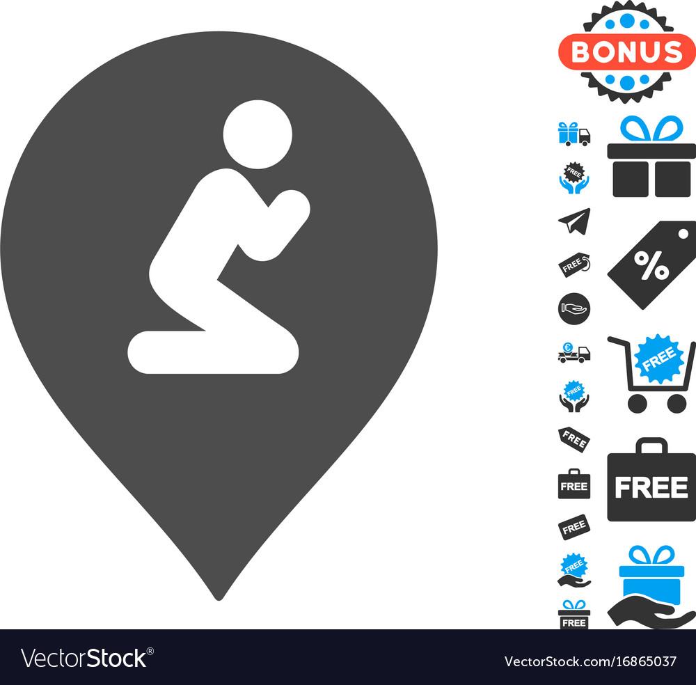 Prayer map marker icon with free bonus vector image