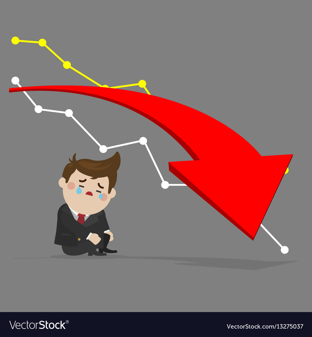 Sad businessman with drop investment vector image