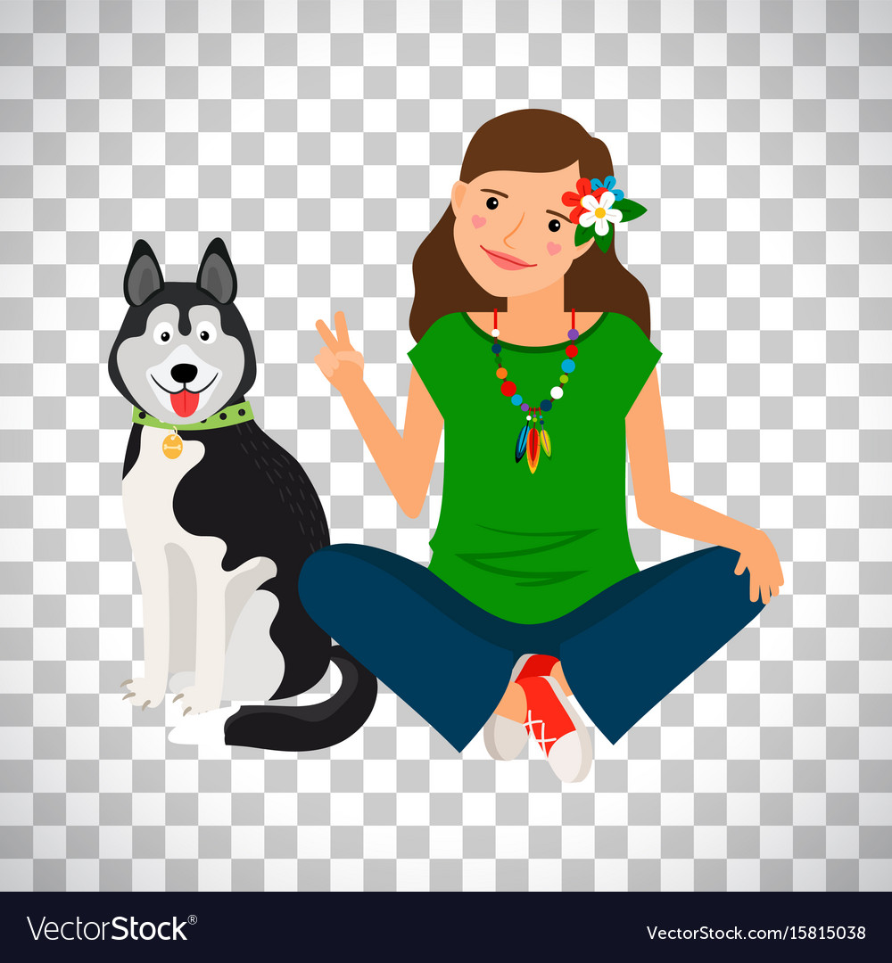 Hippie girl with dog icon vector image
