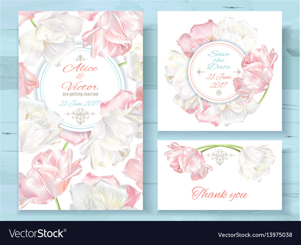 Tulip invitations set vector image