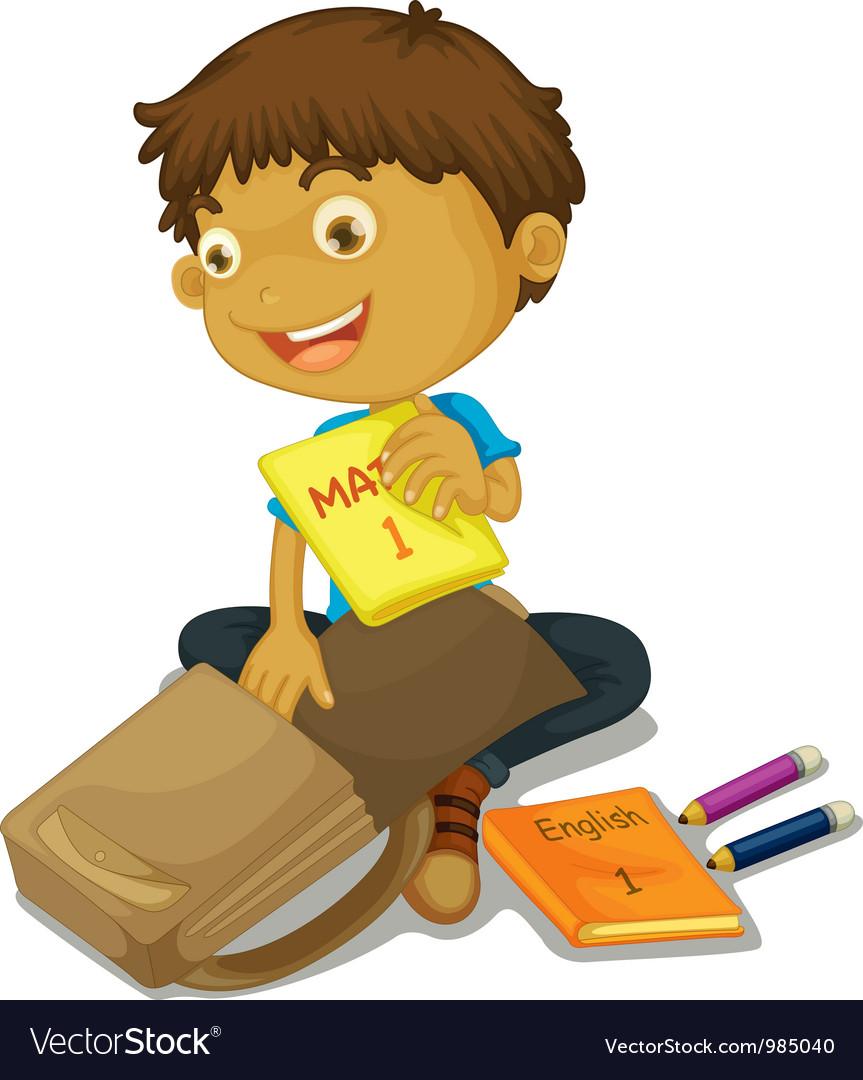Boy packing schoolbag vector image