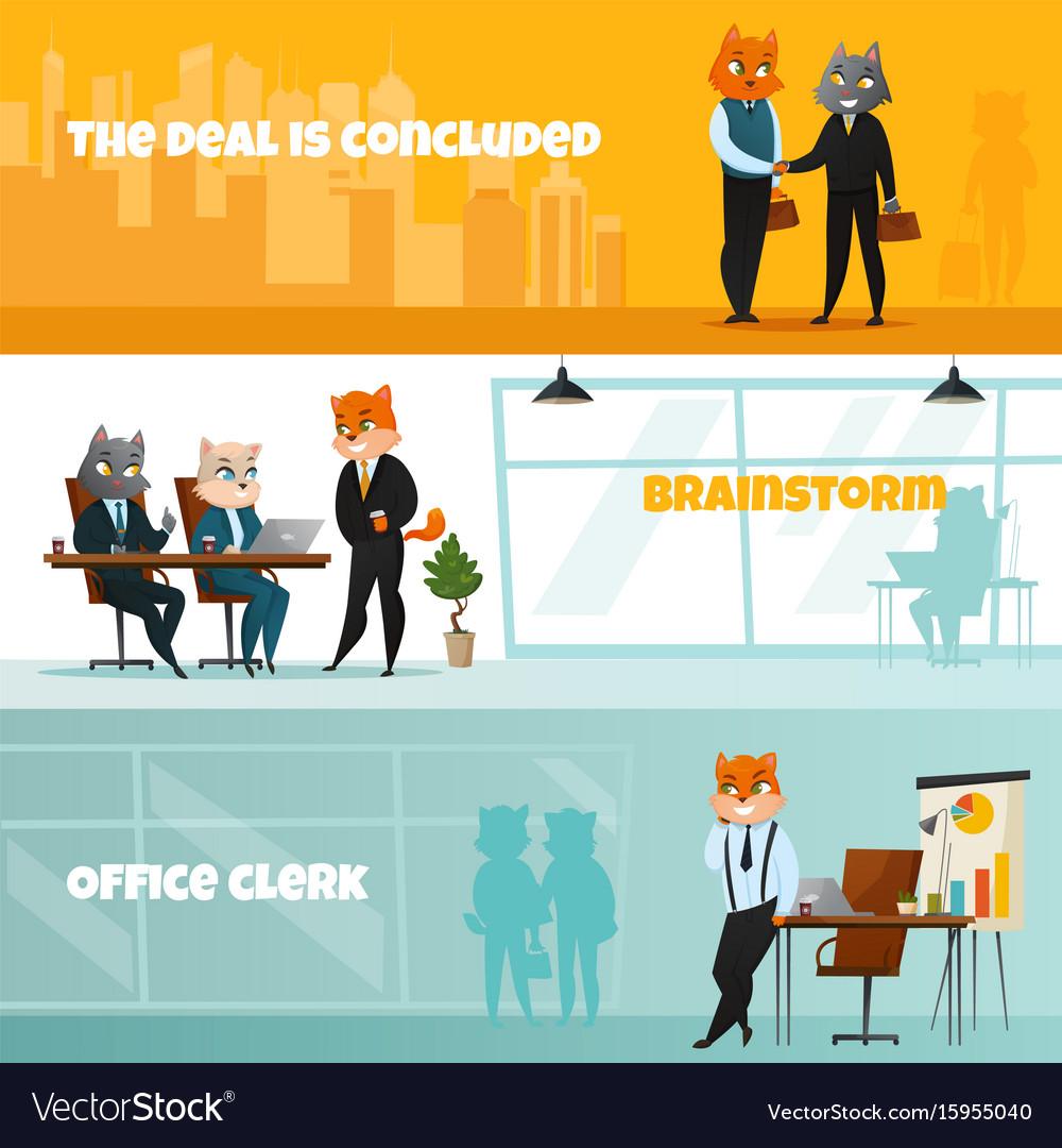 Business cat horizontal banner set vector image