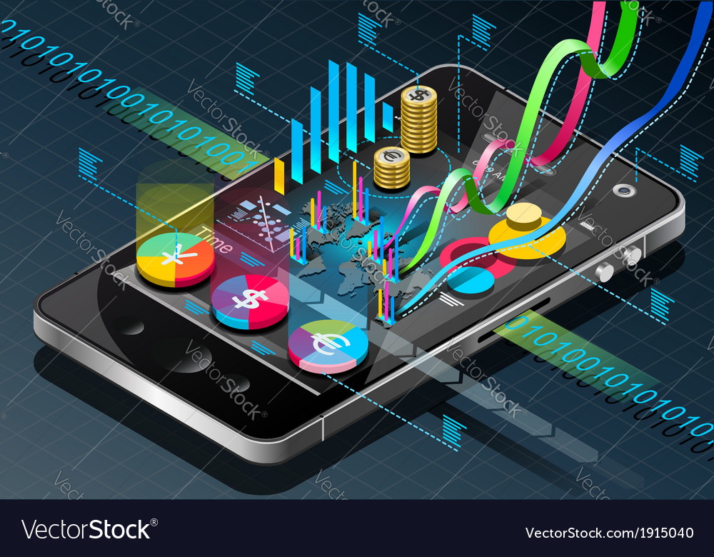 Isometric Business Infographic on Mobile Phone vector image