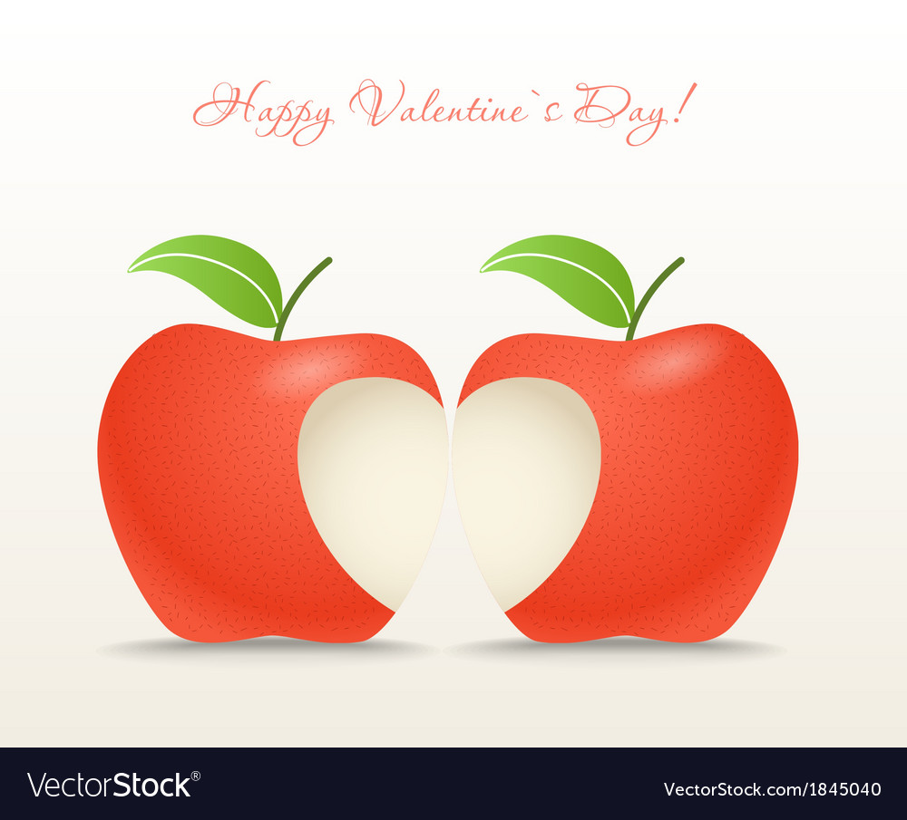 Two apples with abstract heart vector image