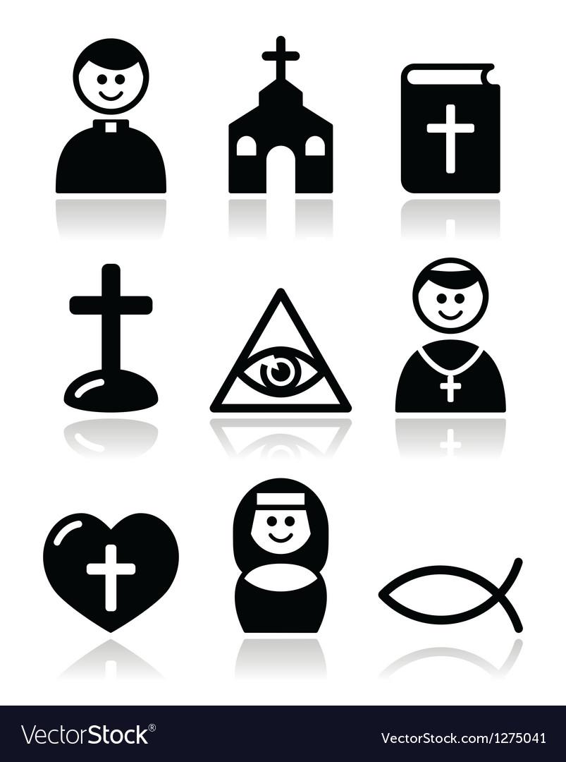 Religion catholic church icons set vector image