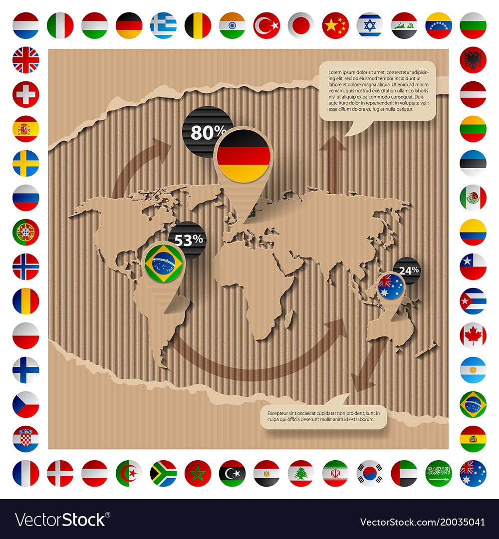 Cardboard template with world map and flags vector image cardboard template with world map and flags vector image gumiabroncs Images