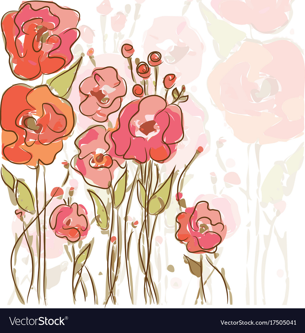 Eps10 background with vibrant poppies vector image