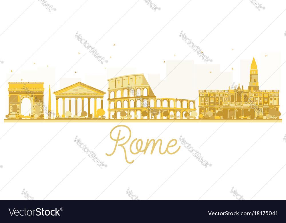Rome city skyline golden silhouette vector image