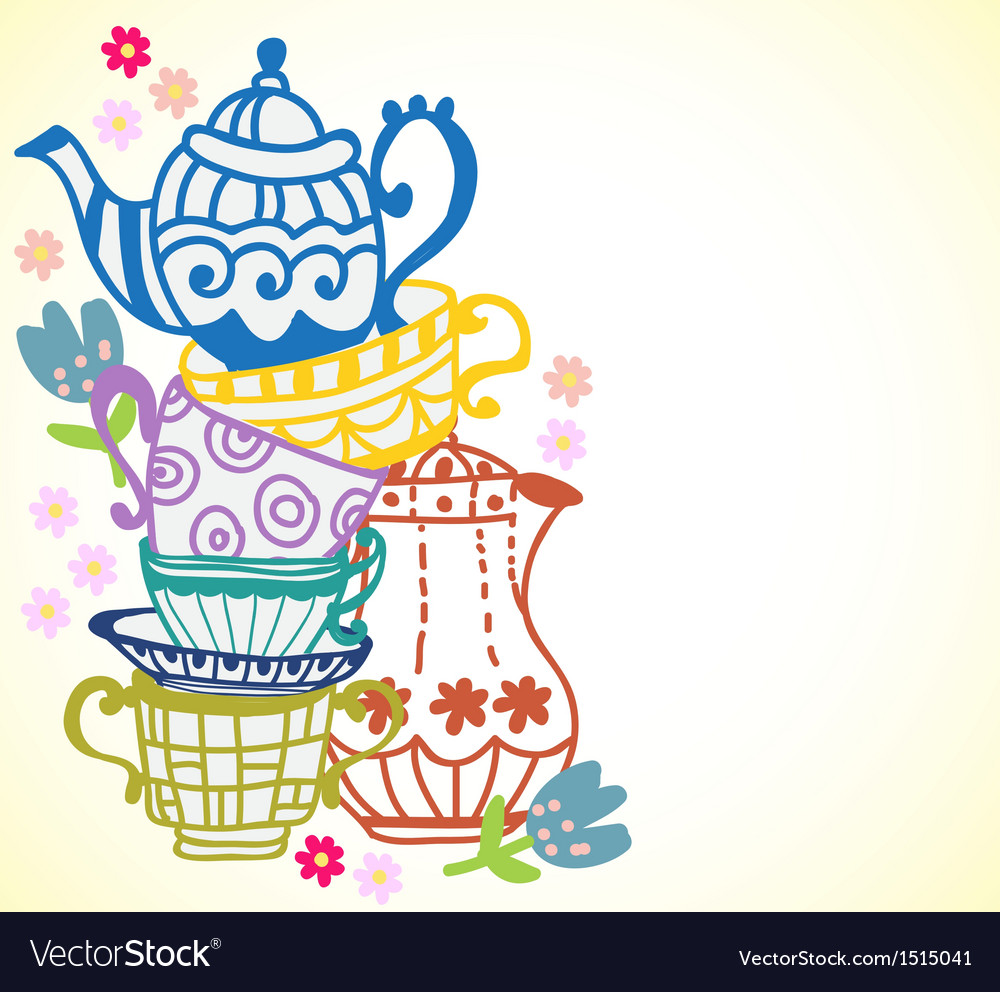 Tea cup background with teapot vector image