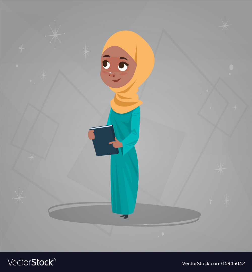 Arab girl hold books small cartoon pupil muslim vector image