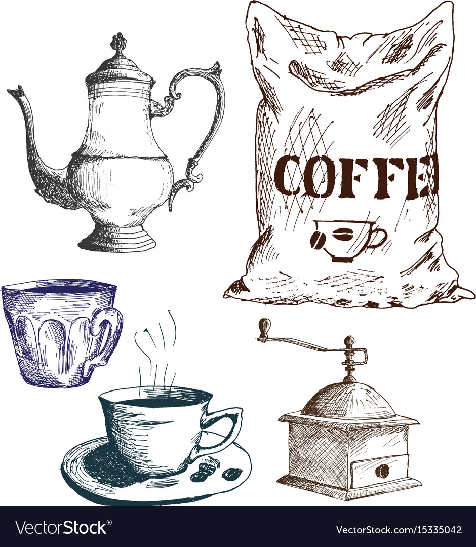 Coffee set cezve coffeepot ibrik coffee maker vector image