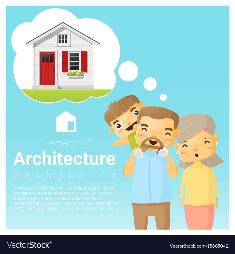 Happy family and dream house background vector image