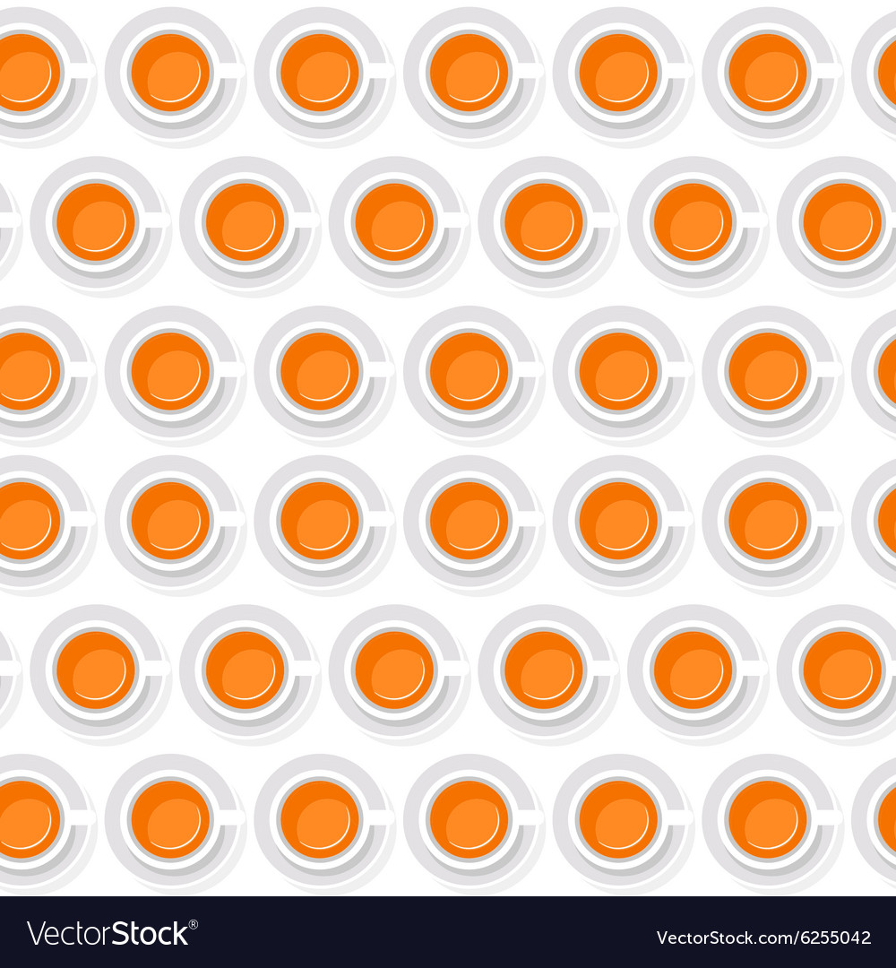 Seamless background of cups with orange juice in a vector image