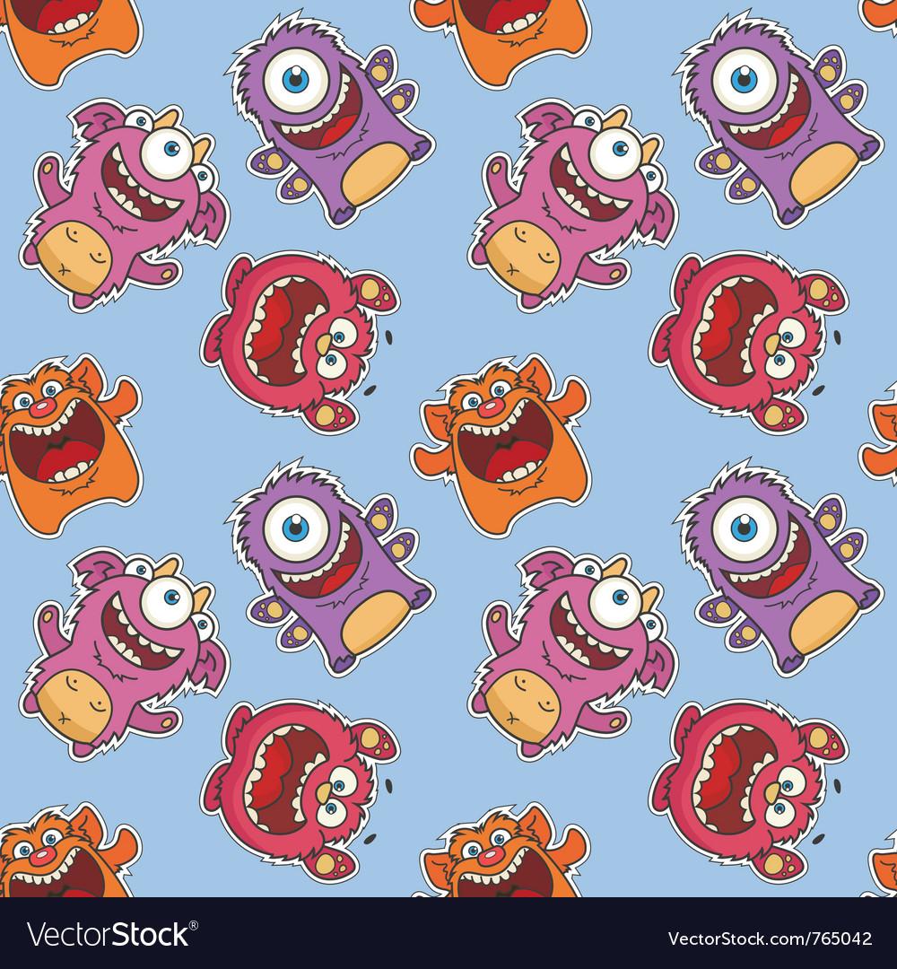 Seamless monster pattern vector image