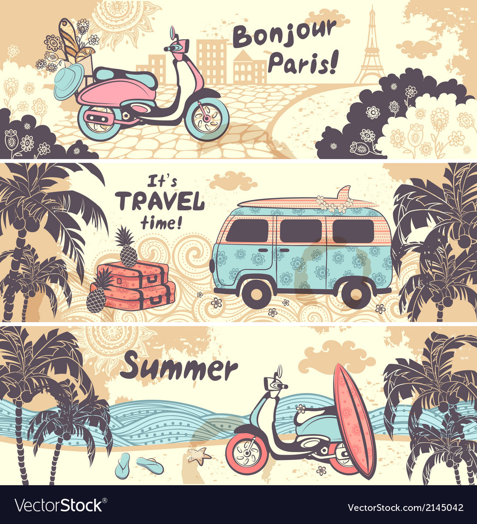Vintage summer and travel banners Royalty Free Vector Image
