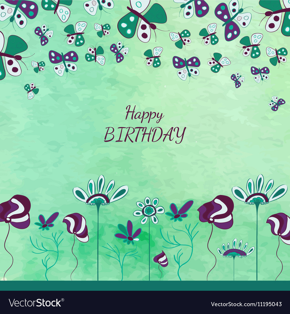 Floral kids card vector image