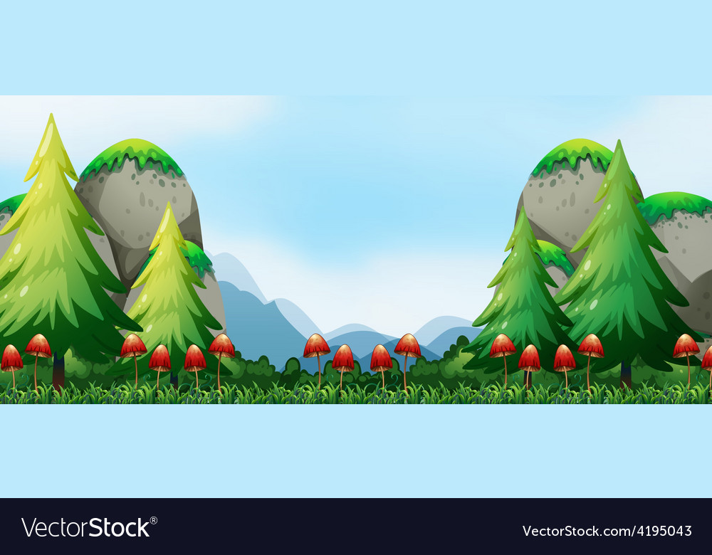 Mushroom and field vector image