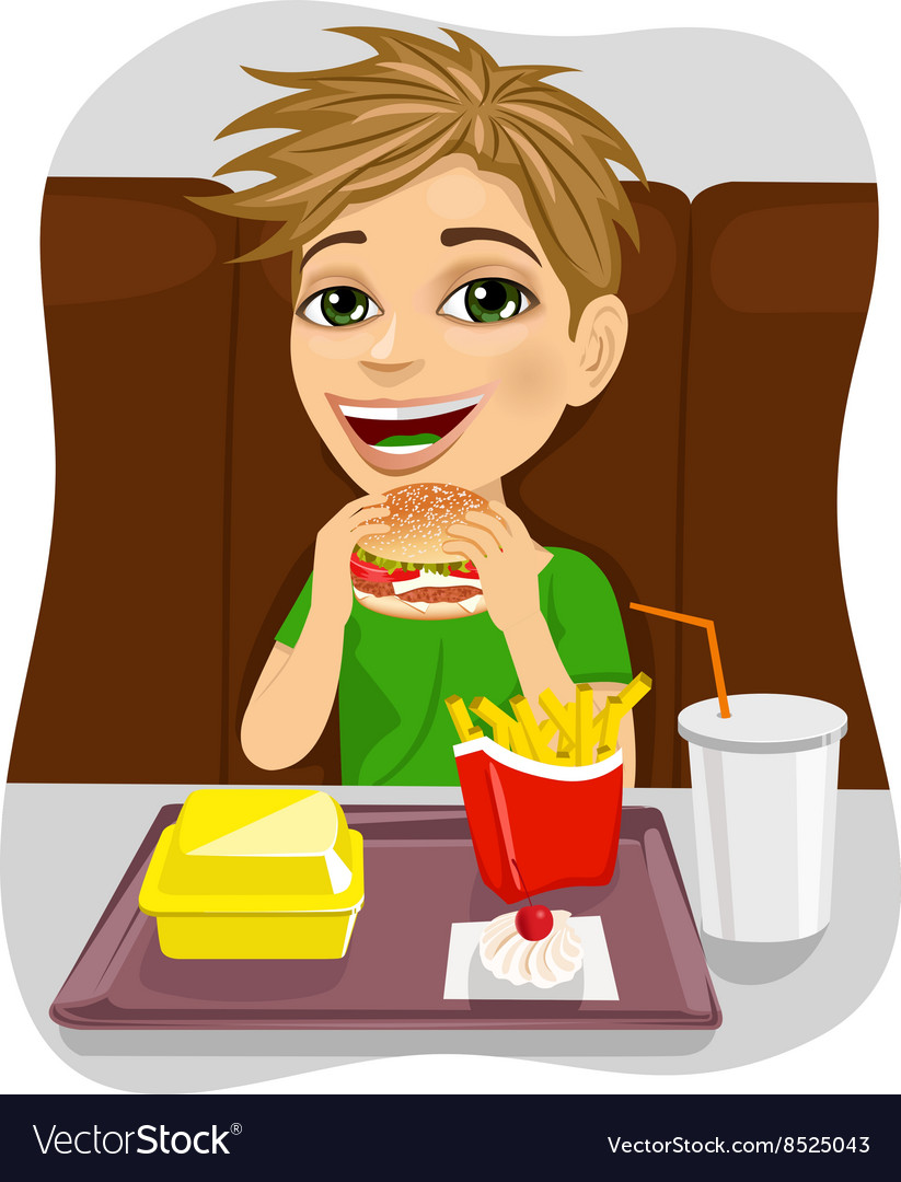 Young boy eating cheeseburger with french fries vector image