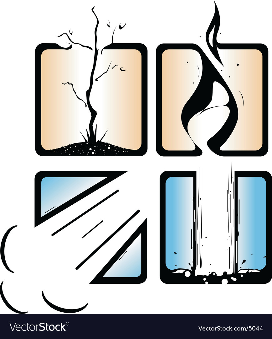 Airheatwaterearth elements vector image
