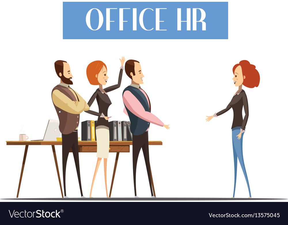Office hr cartoon style vector image