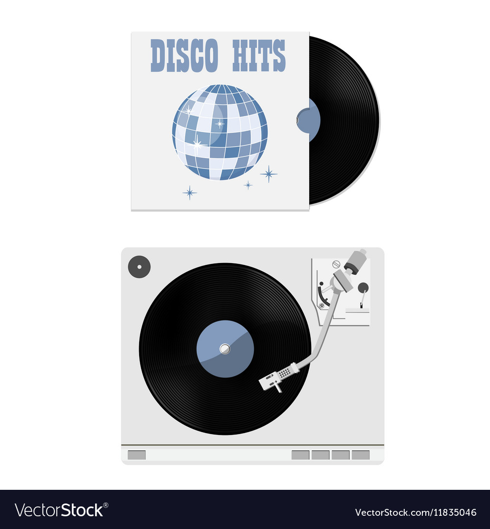 Vinyl record and player vector image