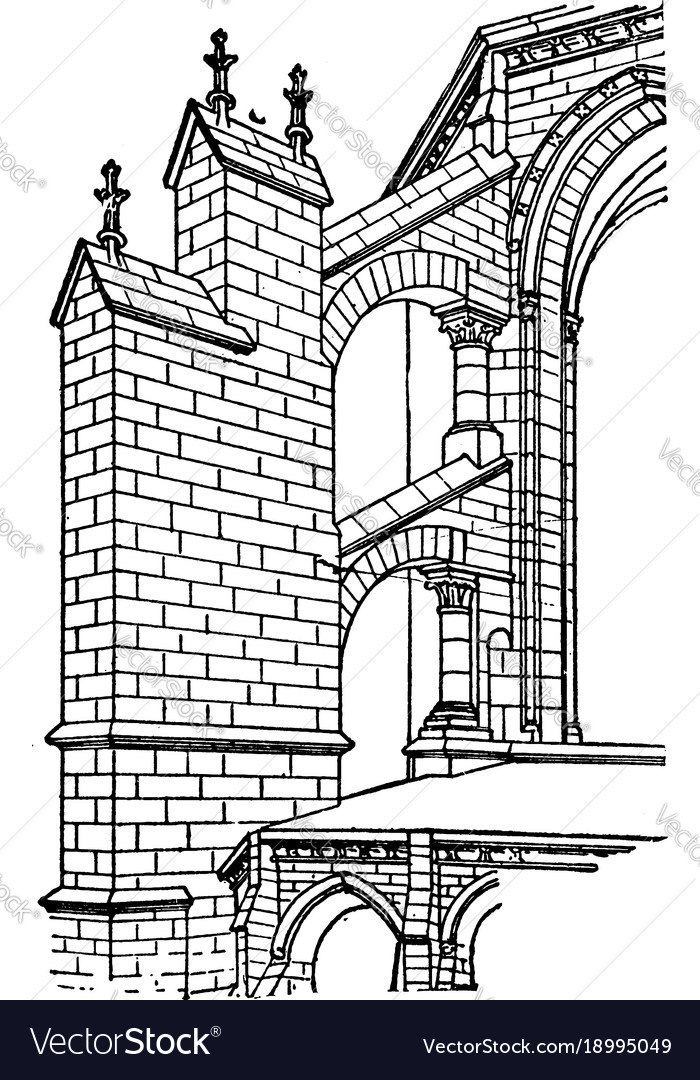 Early Gothic Flying Buttress Arc Boutant Vintage Vector Image