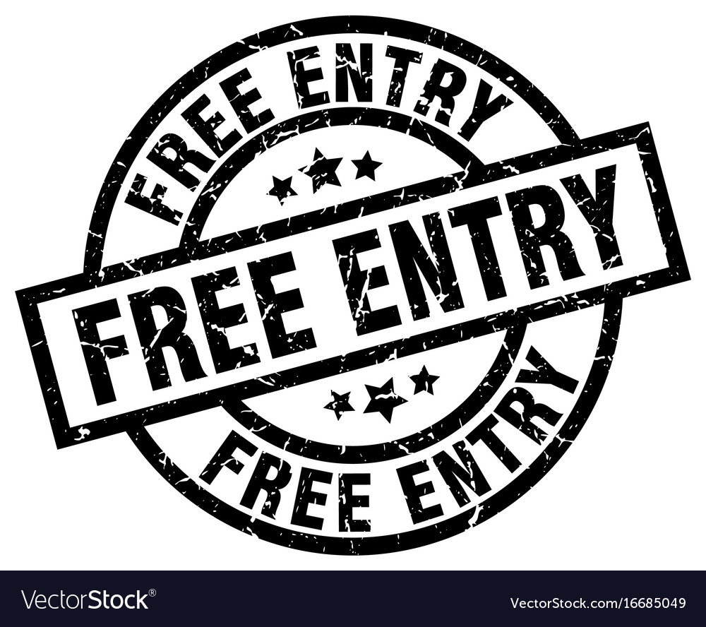 Free entry round grunge black stamp vector image
