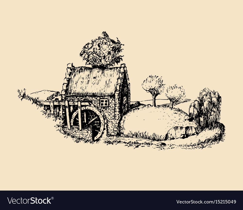 Hand sketched of old rustic water mill vector image