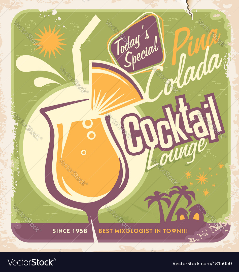 Pina Colada cocktail vector image