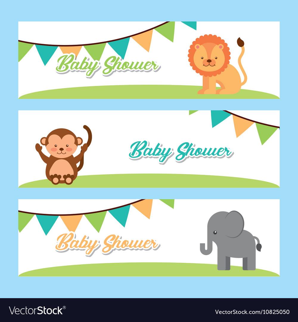 Animal cute baby shower invitation Royalty Free Vector Image