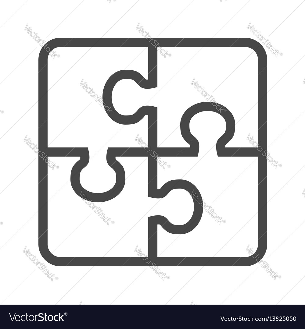 Puzzle thin line icon vector image