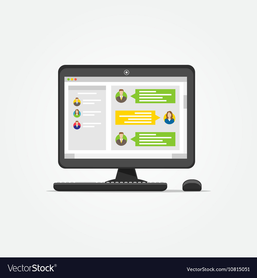 Desktop with messenger application vector image