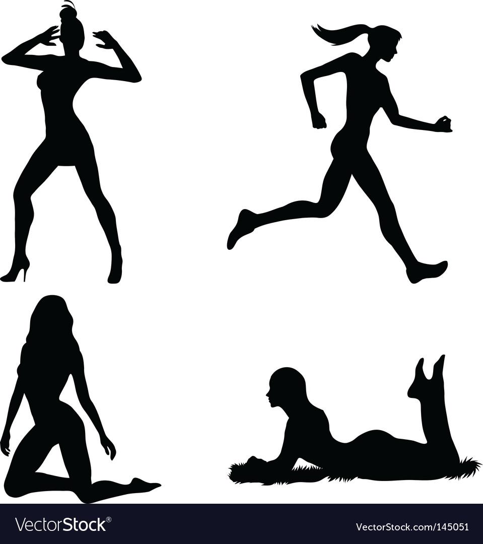 Woman silhouette set vector image