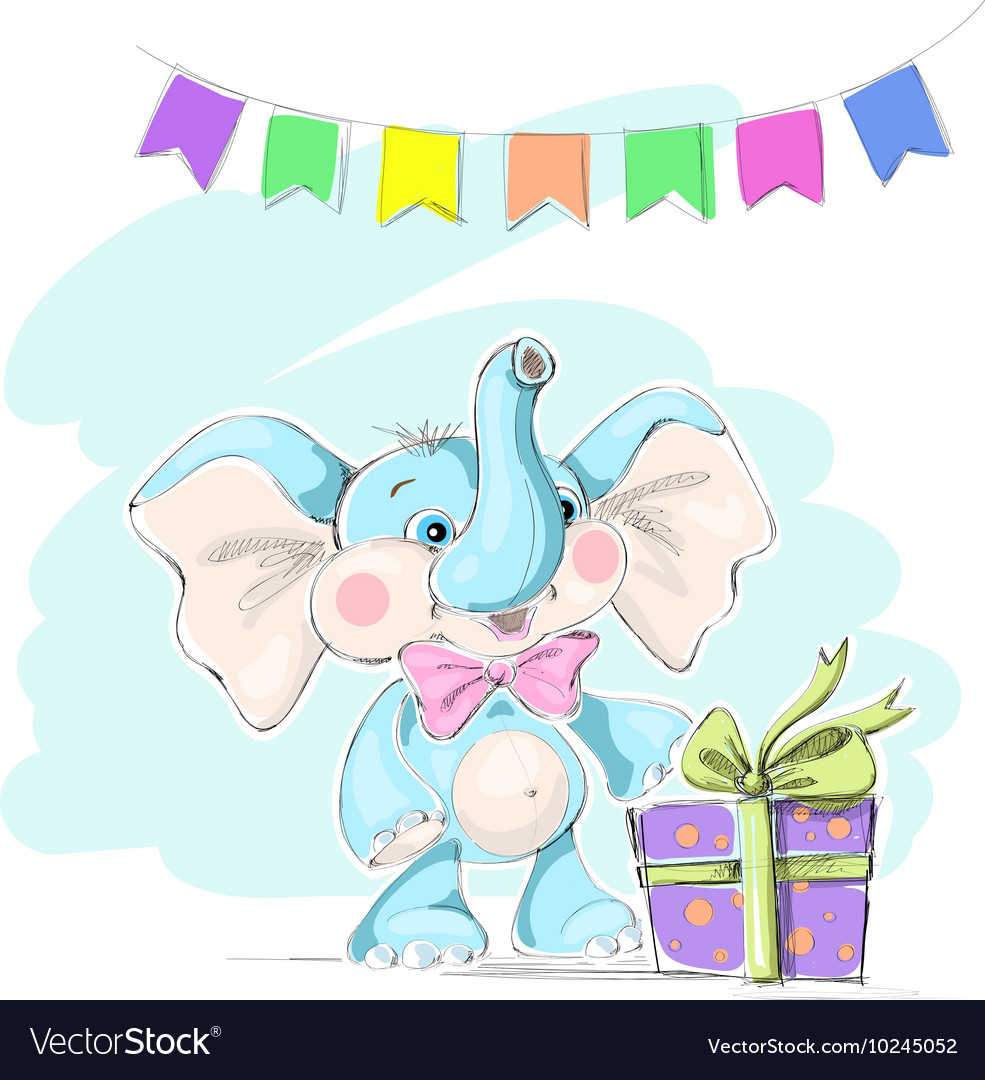 Cute and funny baby elephant with a gift and flags vector image