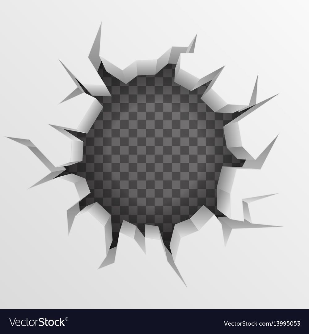 Brick wall hollow crack hole transparent vector image