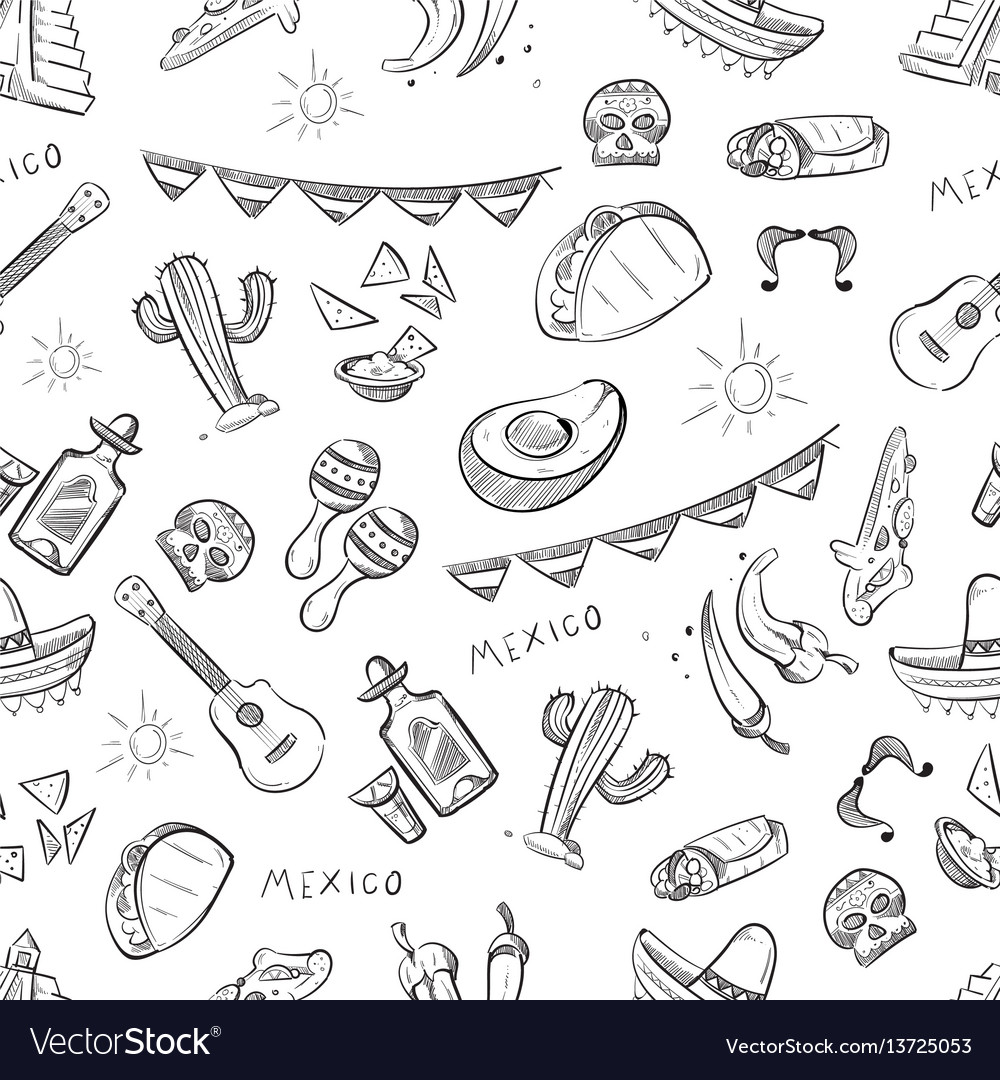 Traditional mexican food mexico culture elements vector image