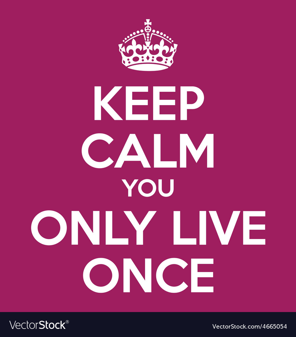Keep calm you only live once YOLO quote poster vector image