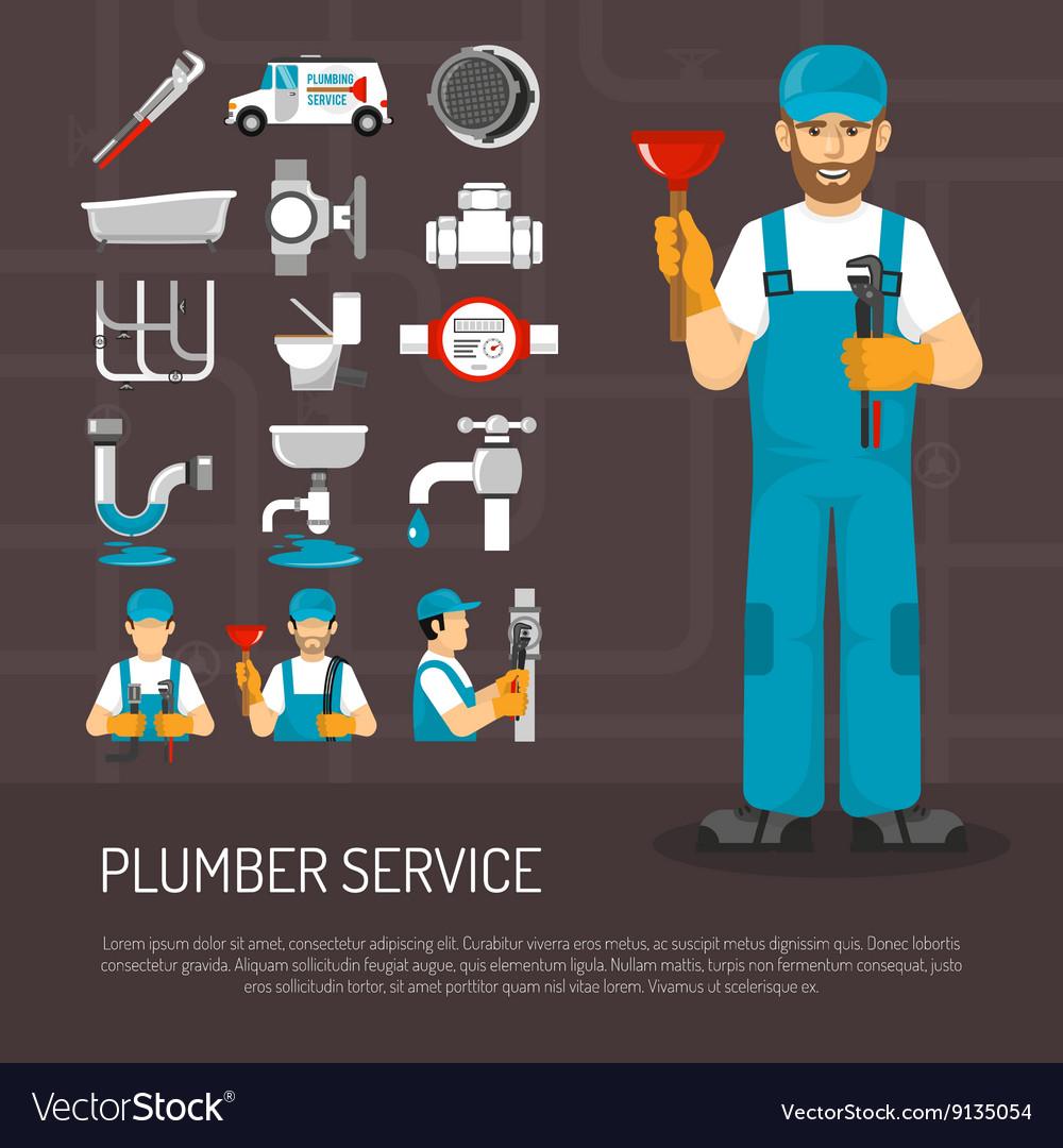 Plumbing Service Decorative Icons Set vector image