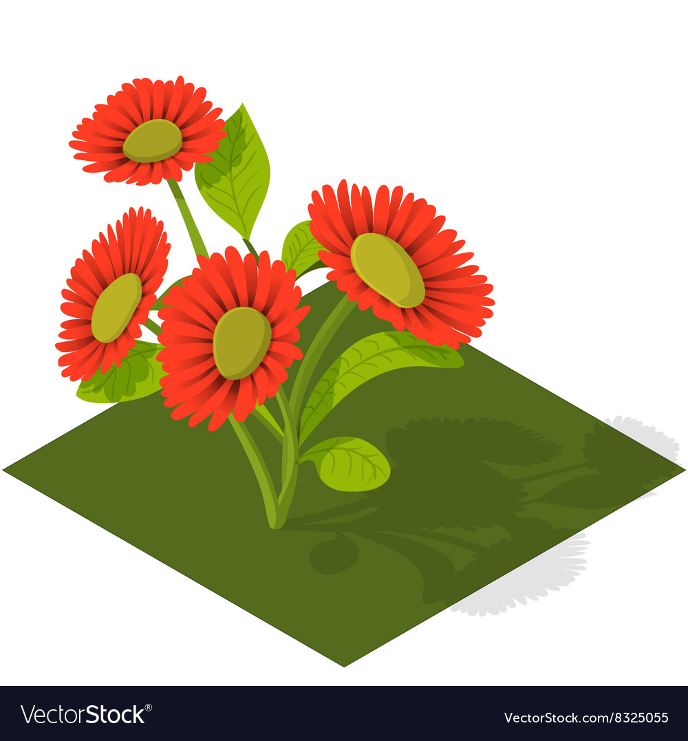 Isometric Tile Flowers vector image