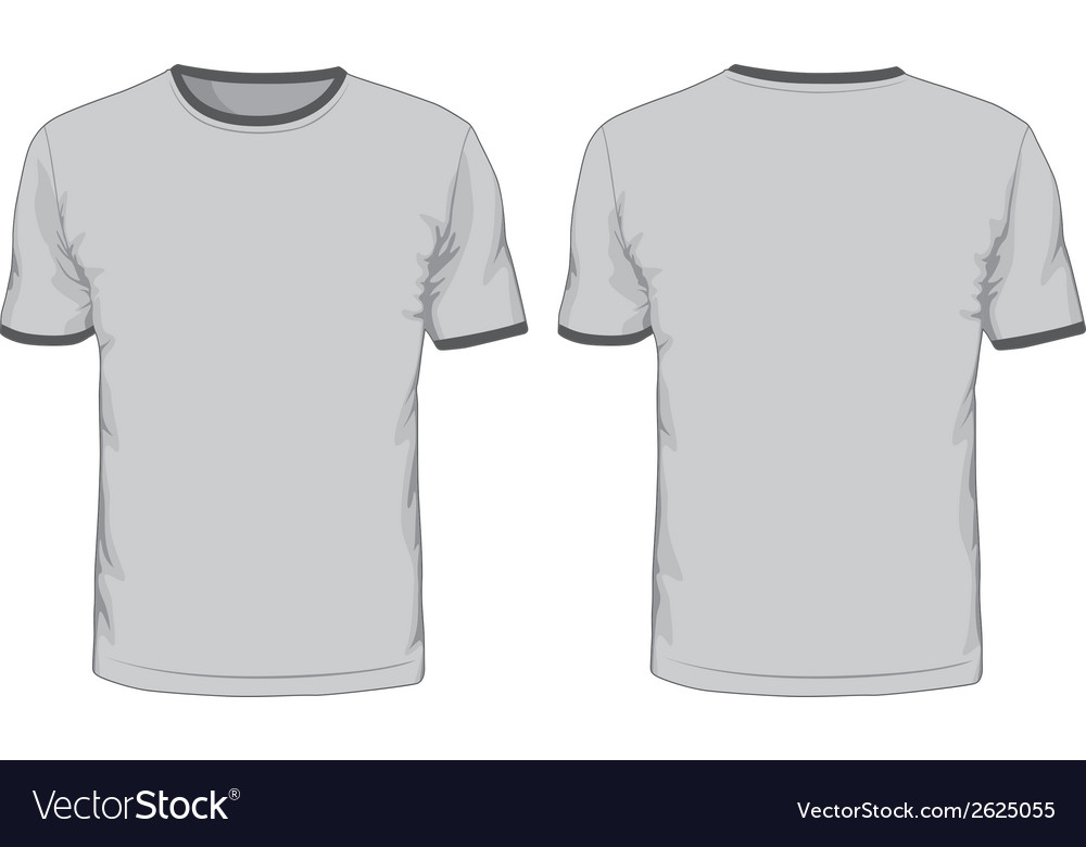 mens t shirts template front and back views vector image. Black Bedroom Furniture Sets. Home Design Ideas