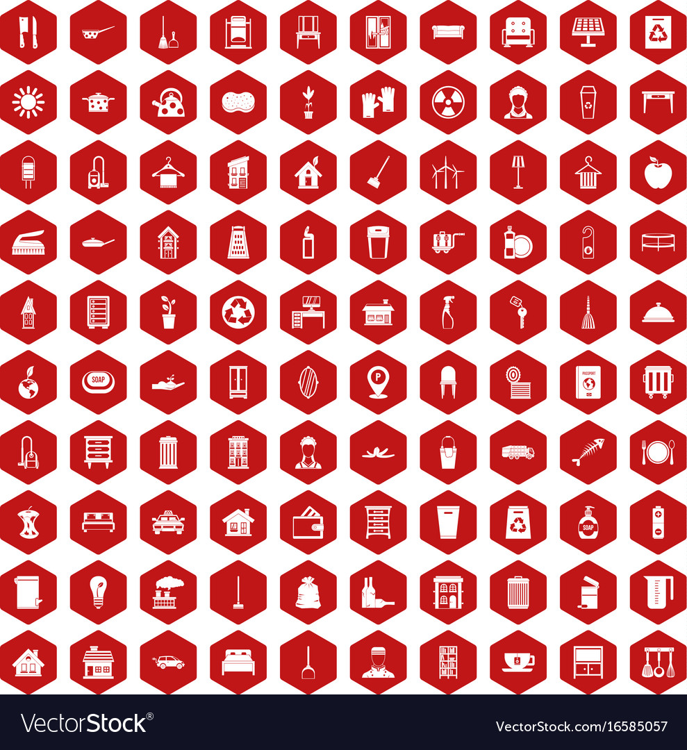 100 cleaning icons hexagon red vector image