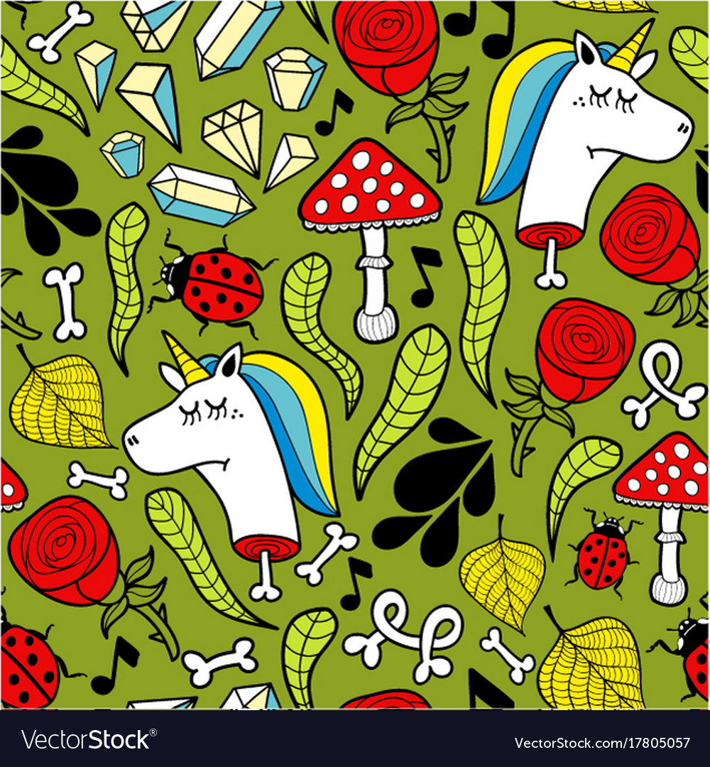 Seamless background with dead unicorns and nature vector image