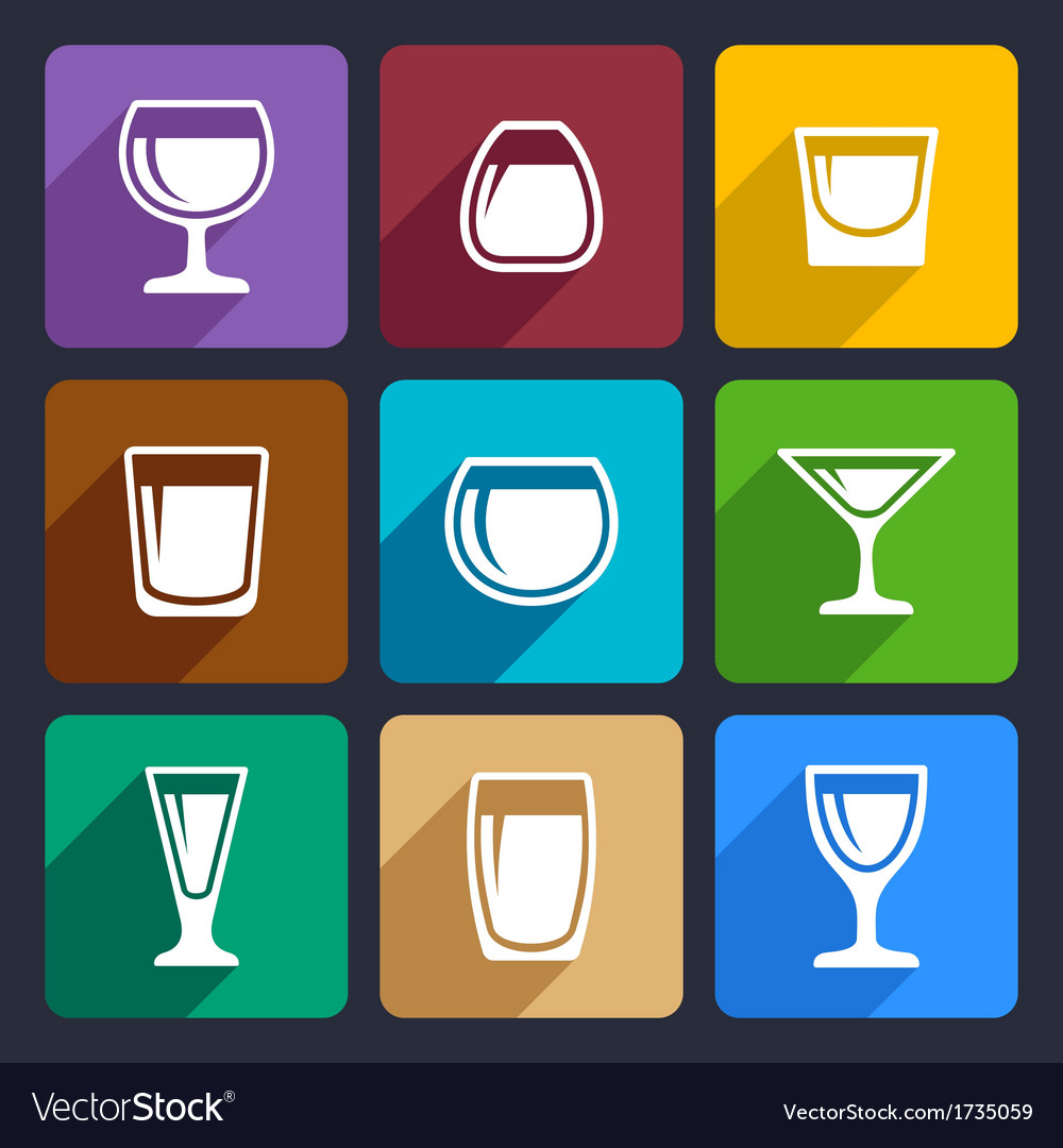 Drink glasses icons set 16 vector image