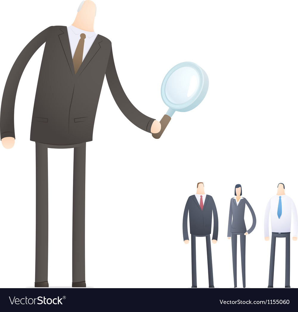 Boss chooses experienced staff vector image