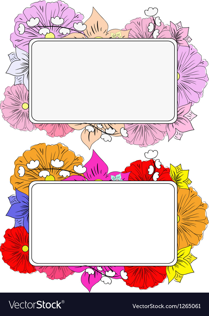 Banners with hand drawing flowers vector image
