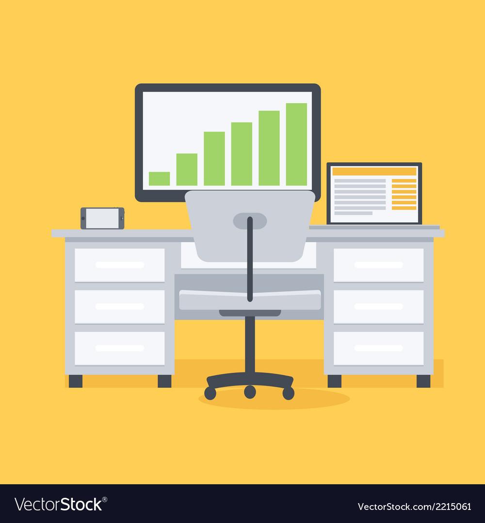 Computer desk workplace vector image