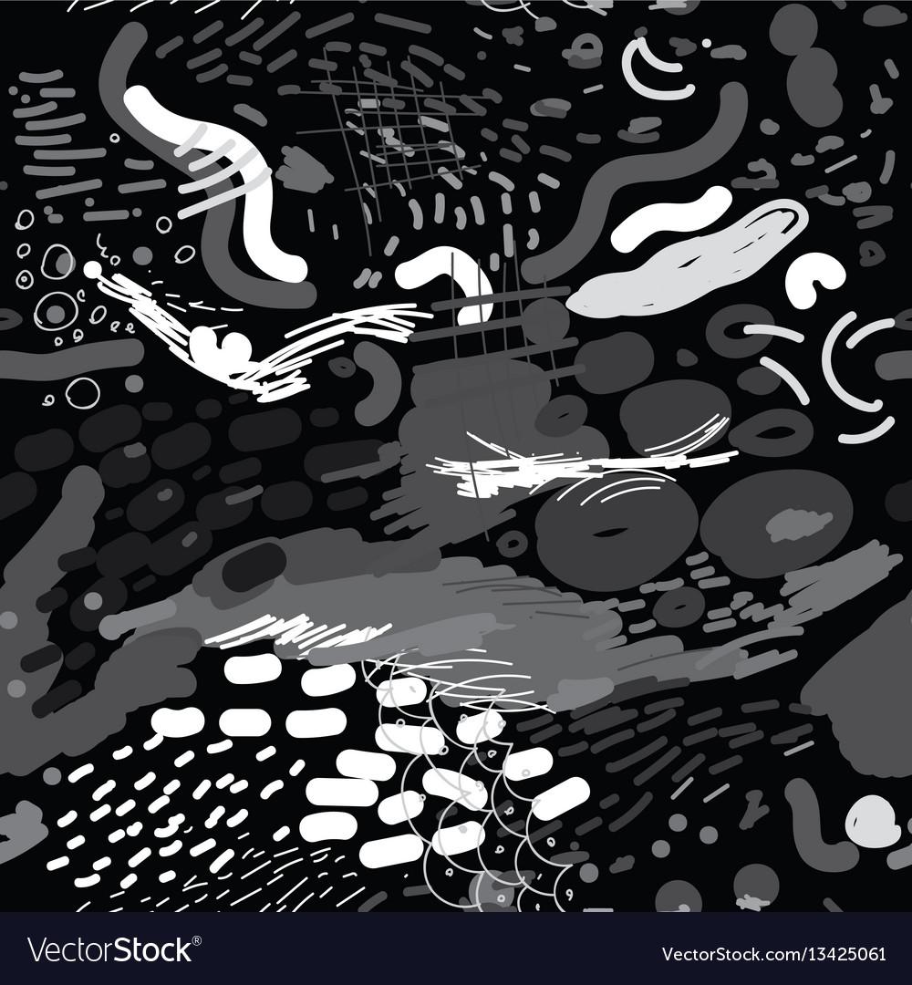 Digital brush strokes seamless pattern vector image