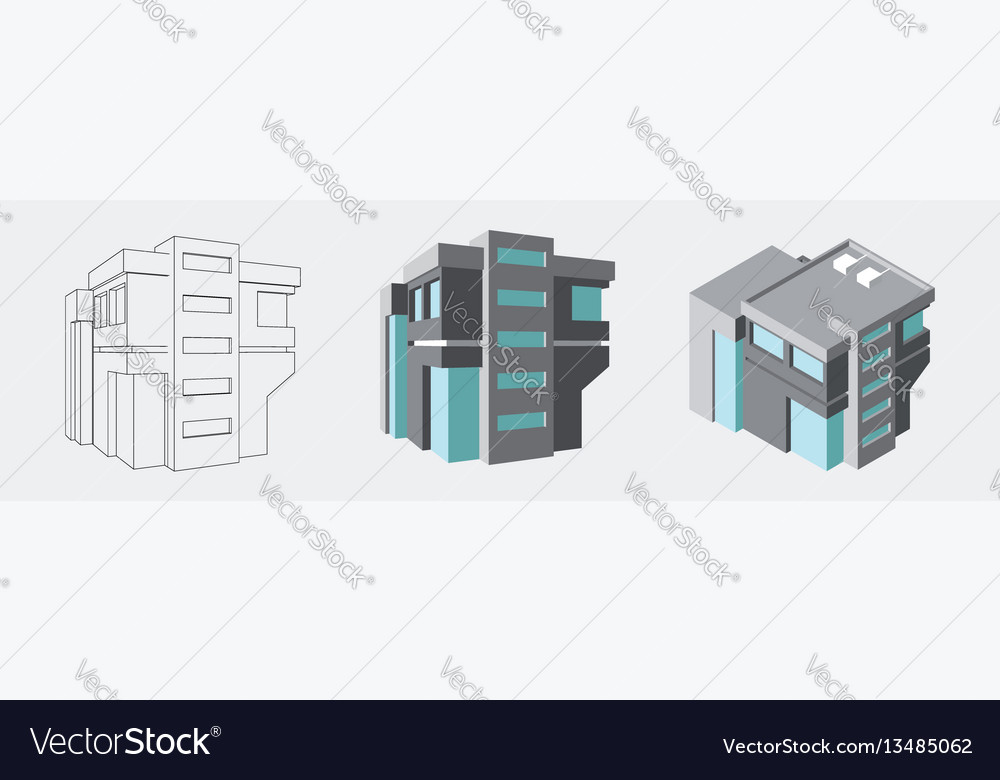 Isometric business center modern 3d home plan Vector Image
