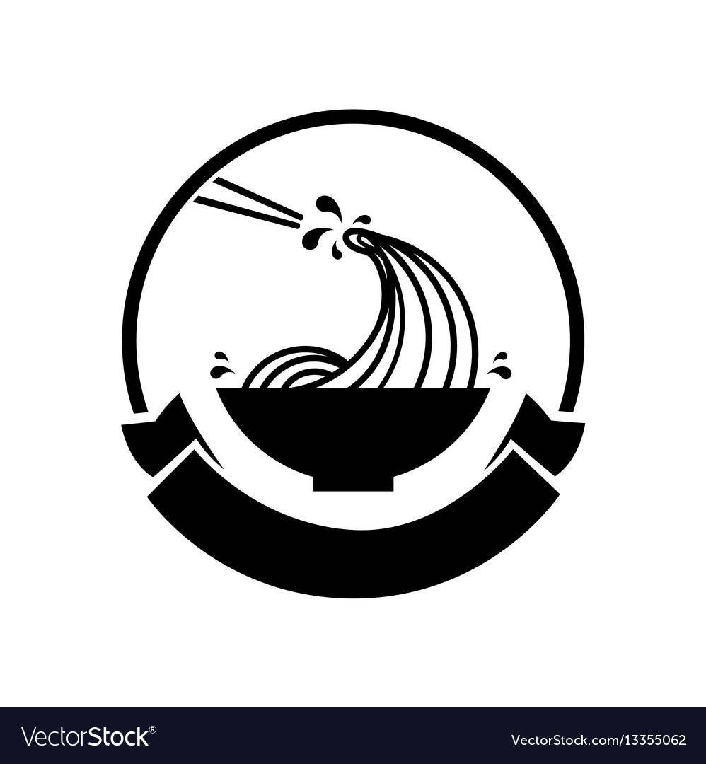 Noodle wave in bowl logo vector image