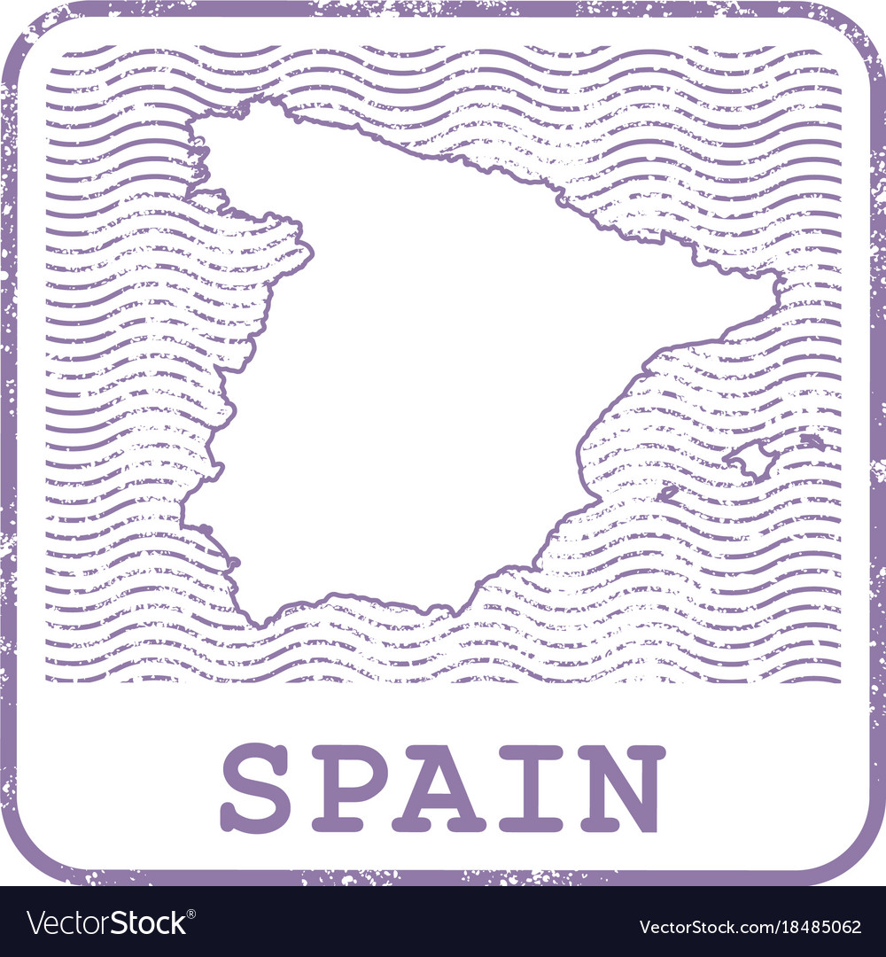 Stamp with contour of map of spain vector image